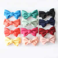 12pcs/lot Solid Colour Boutique Hair Bows For Girls Two Layers Bow Hair Clip Barrettes Fashion Hair Accessories For Women