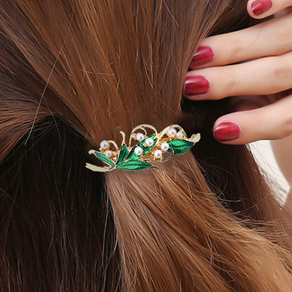 Retro Enamel Green Leaf Pearl Hair Clip Clamp Hairpin Women Hair Accessor.hz