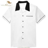 SISHION 50s Inspired Bowling Men White Shirt ST117W Elegant classic retro Short Sleeve Vintage Retro Casual Shirts hemden herren
