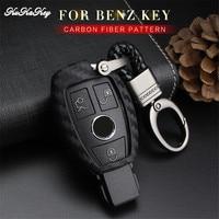 KUKAKEY Mercedes Benz W203 W210 W211 Için Araba Anahtarı Durum Kapak W124 W202 AMG Ces R CLA CLS CLK SLK Karbon Fiber Araba Anahtarı Çantası Kabuk