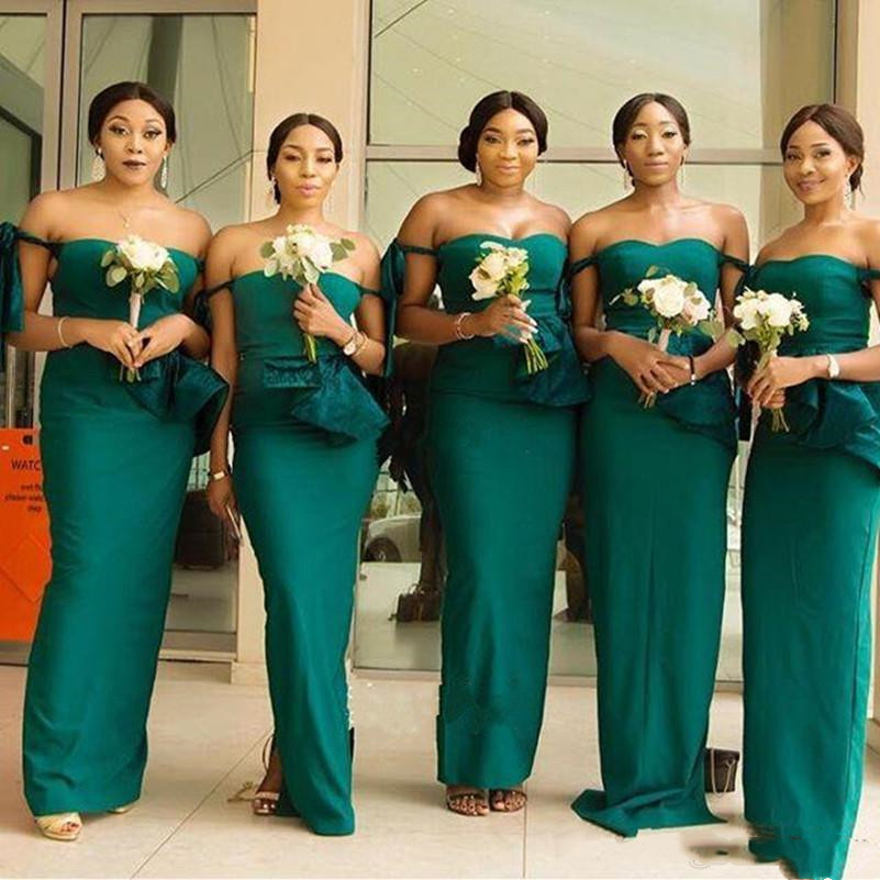 long dress wedding party for woman Gown Custom vestido de festa longo 2018 Dark Green Off Shoulder Mermaid Bridesmaid Dresses