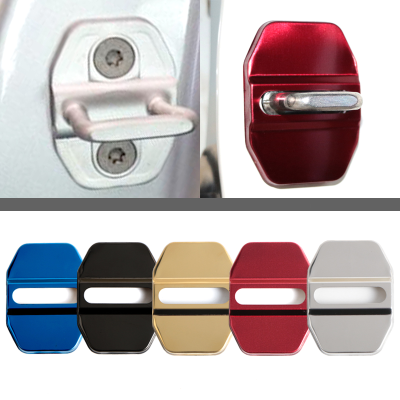 4pcs//lot Car Logo Styling Stainless Steel Door Lock Striker Cover Door Striker Cover for Honda white