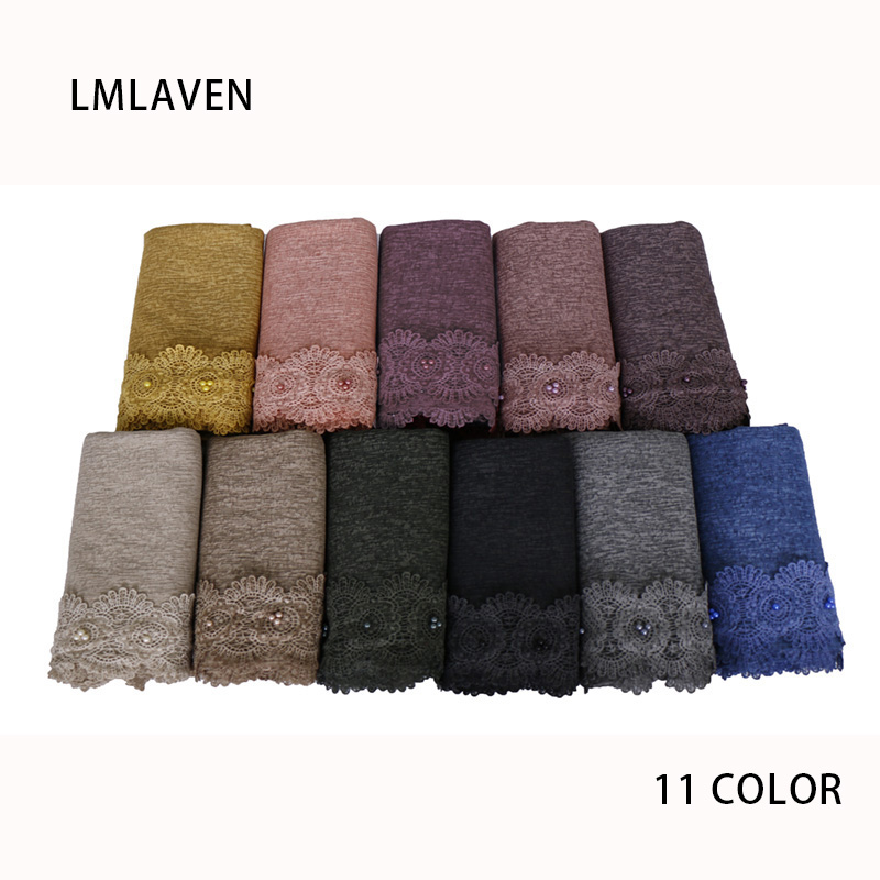 Women cotton with beads hijab   scarf   solid color lace   scarves     wrap   muslim headband headscarf maxi shawl foulard 180*85cm 20pcs