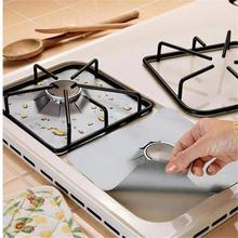Gas Stove Top Surface Protection Mat Square High Temperature Oil Proof Antifouling Kitchen Clean Supply 4PCS/Set