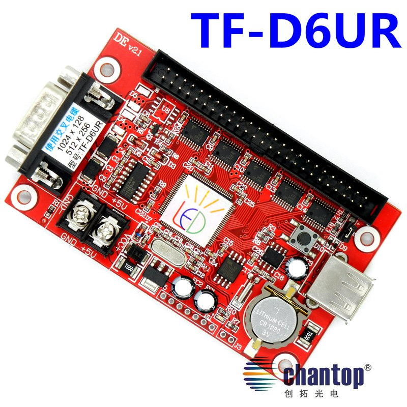 free shipping TF-D6UR 512*256pixels large area serial/ USB led control card P10,p13.33,p16,F3.75 LED sign controller board 2 4g remote control for led high promotion sd card led controller programable led digital dmx 512 free shipping