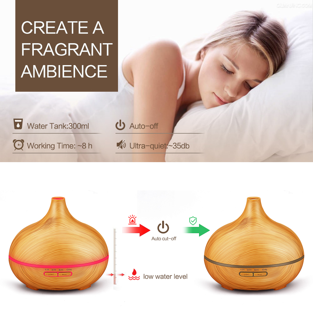 Image 2 - KBAYBO 300ML LED Lamp Electric Aroma Air Humidifier Essential air diffuser wood Air Purifier cool Mist Maker for home office Spamist makeraroma air humidifierair humidifier -