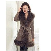 New Fashion 2016 Winter Women Slim Medium Length Warm leather and fur winter coat Fur outwear sheep fur trim collar Jacket camel