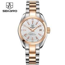 SEKARO Business Luxury Women Watches Steel Waterproof Watch Woman Automatic Mechanical Calendar Watch Relogio Feminino For Gift цена и фото
