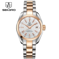 SEKARO Business Luxury Women Watches Steel Waterproof Watch Woman Automatic Mechanical Calendar Watch Relogio Feminino For Gift