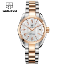 SEKARO Business Luxury Women Watches Steel Waterproof Watch Woman Automatic Mechanical Calendar Watch Relogio Feminino For Gift