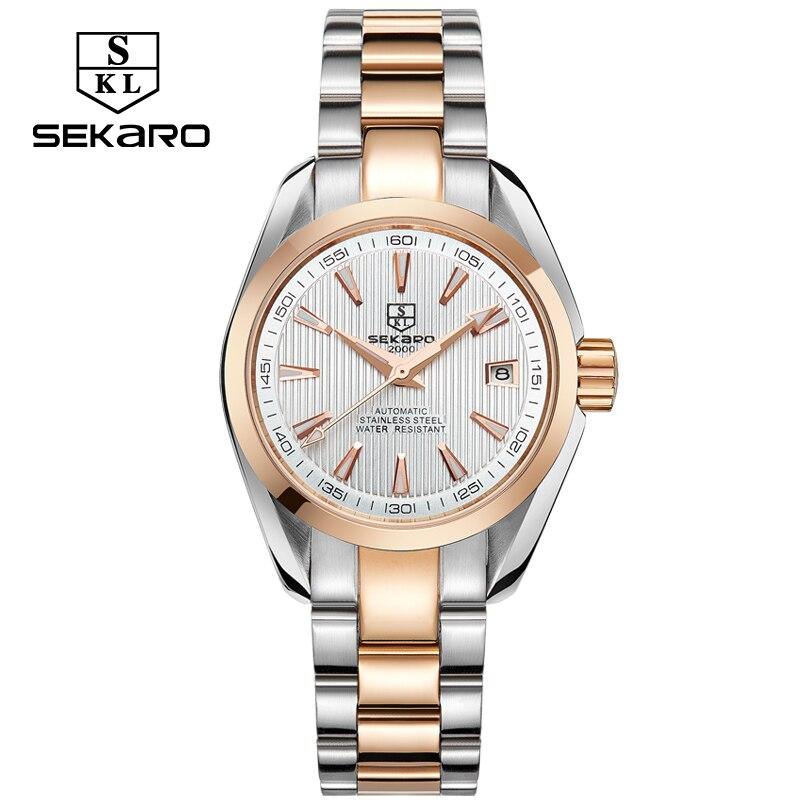 SEKARO affaires de luxe femmes montres en acier étanche montre femme automatique mécanique calendrier montre Relogio Feminino pour cadeau