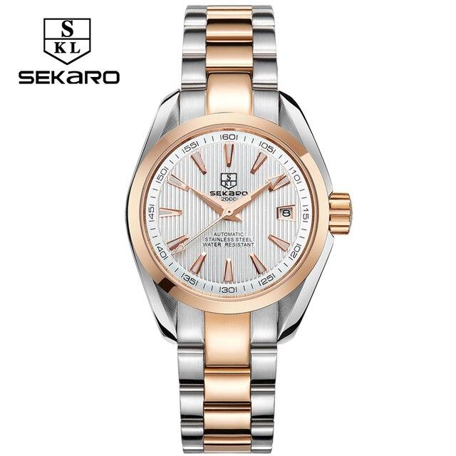 Sekaro Бизнес Роскошные Для женщин Часы Сталь Водонепроницаемый часы девушку механические Календари Часы Relogio feminino для подарка