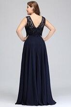 فستان سهرة ذو مقاسات كبيرة بدون أكمام من الشيفون الناعم والدانتيل الراقي