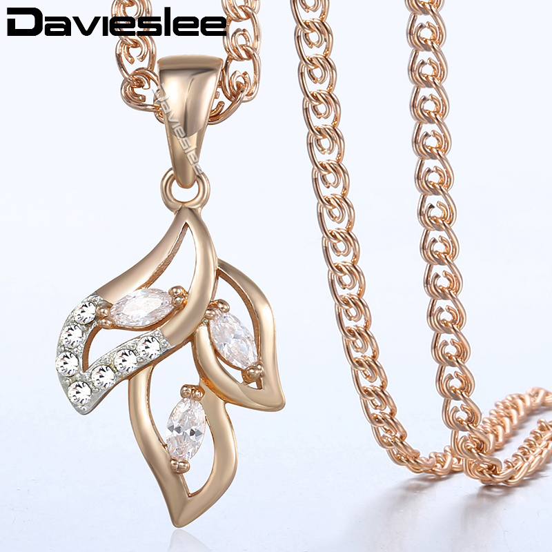 Davieslee Moon Star Pendant Necklace for Women 585 Rose Gold Filled Snake Link Womens Necklaces Chain Fashion Jewelry LGP227