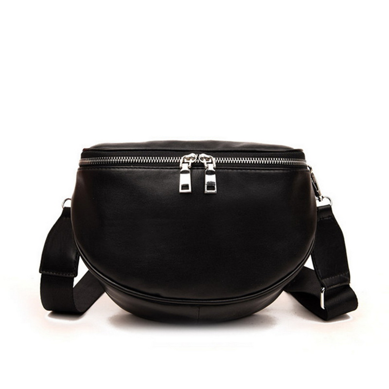 Zipper Solid Color Women Leather Shell Messenger Shoulder Bag Bust Bag Crossbody Bag Money Phone Travel Handbag