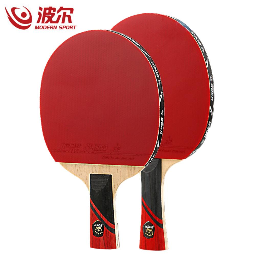 BOER 1pc 3 Star Table Tennis Racket Double Sided Inverted Rubber Ping Pong Bat for Training