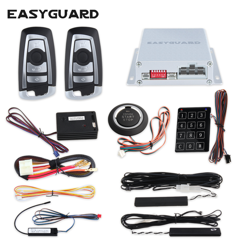 EASYGUARD PKE car alarm system hopping code remote start stop push start button touch password entry shock sensor alarm DC12V car alarm system pke smart key touch password entry power saving remote engine start starter push start stop button dc12v
