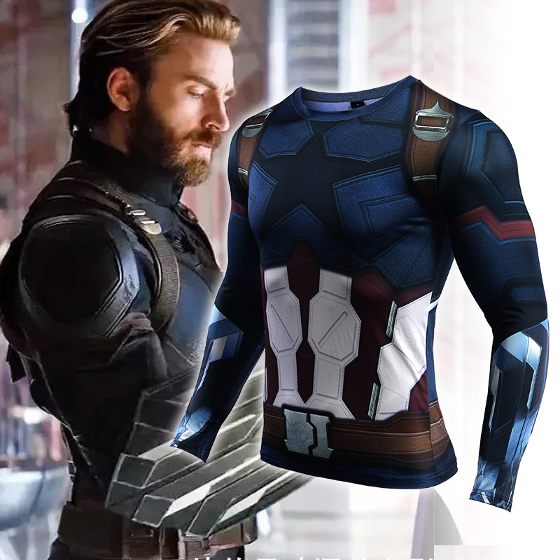 Capitan America Print Sport Shirt Men Gym Running Shirt Fitness Dry Fit Men Running Shirts Rashgard MMA Compression T Shirt Men