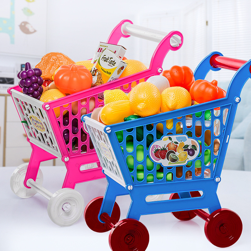 Children Role Play Supermarket Toy Shopping Cart Trolley With Fruits And Vegetables Set Pretend Play Toys