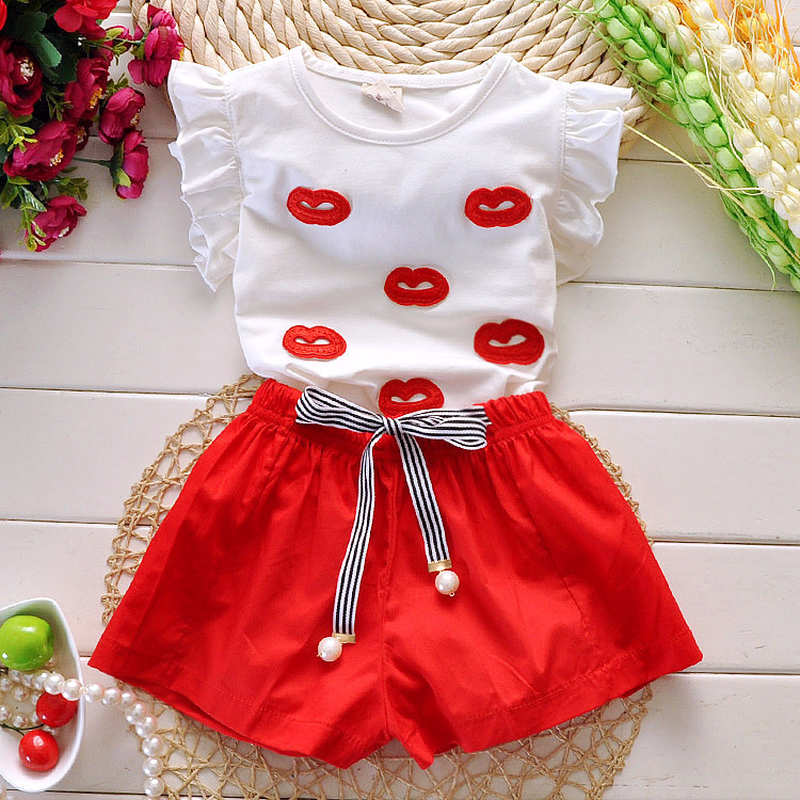 2018 Summer Girls Two Piece Suit Sexy Lip Embroidered T-shirt Shorts School Style Children's Clothing Sets 4 5 6 7 8 9 10 Ages