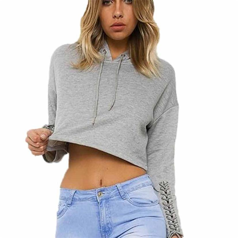 Women Casual Drawstring Hooded Long Sleeve With Bandage Pullover Fleece Crop Gray Hoodie Sweatshirt S-XL LL#TH