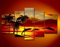 handpainted 5 piece red modern decorative oil painting on canvas wall art koi fish for living room
