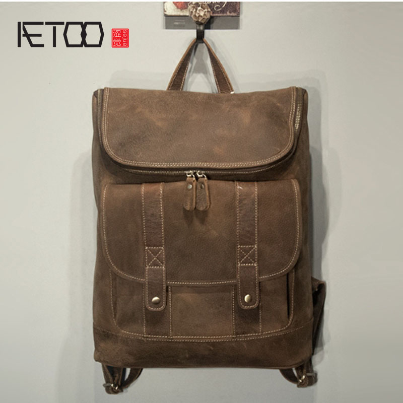 AETOO  Large capacity first layer of leather men backpack travel bag retro backpack aetoo retro shoulder bag genuine handmade men women casual travel backpack large capacity first layer leather
