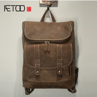 AETOO  Large capacity first layer of leather men backpack travel bag retro backpack