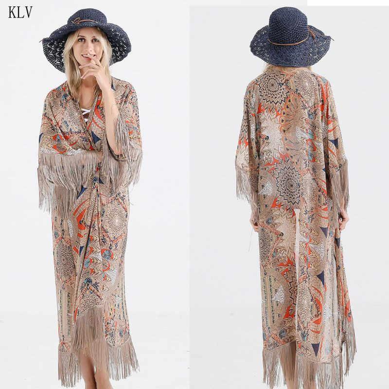 Womens Summer Half Sleeve Chiffon Cardigan Boho Retro Floral Printed Fringed Tassels Bikini Cover Up Ankle Length Kimono Cape