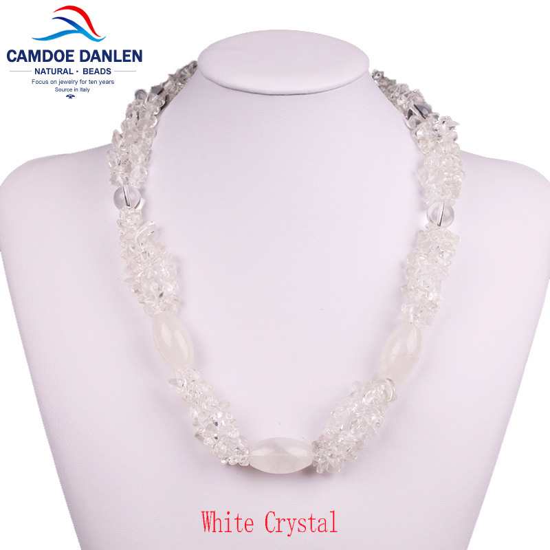 Four Design Stone White Crystal Gravel Trendy Sweater Pendant Maxi Necklace Long Rope Chain Fashion Women Jewelry Accessories