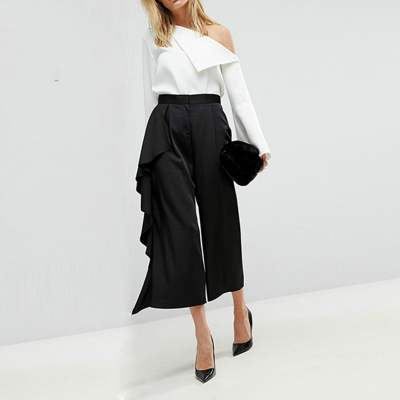 New Fashion Sexy Pants Women Plus Size Button Wide Leg Casual Pant Female 2018 Summer Loose Women Trousers guoran casual loose jeans pants for women 2017 summer new female fashion wide leg trousers light blue high waist plus size 33