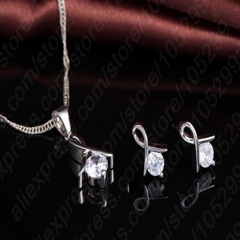 Women 925 Sterling Silver Fashion Necklace Earrings Jewelry Set For Wedding Party Cubic Zircon Cartilage Piercing Earrings 2