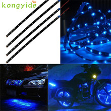 2017 New Car-styling Blue 4pcs 30CM/15 LED Car Truck Flexible Strip Light Waterproof 12V hot drop shipping oct20