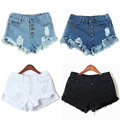 New Women Jeans Shorts Pants Woman High Waist Ripped Hole Wash Denim Shorts White Sexy  Casual Fashion Short Summer Trouser