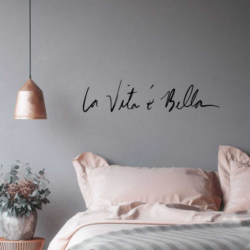 NEW Italian Byword Wall Stickers Vintage LIFE IS SO BEAUTIFUL Stickers For Livingroom Studio Cosmetic Mirror Home Wall Decor