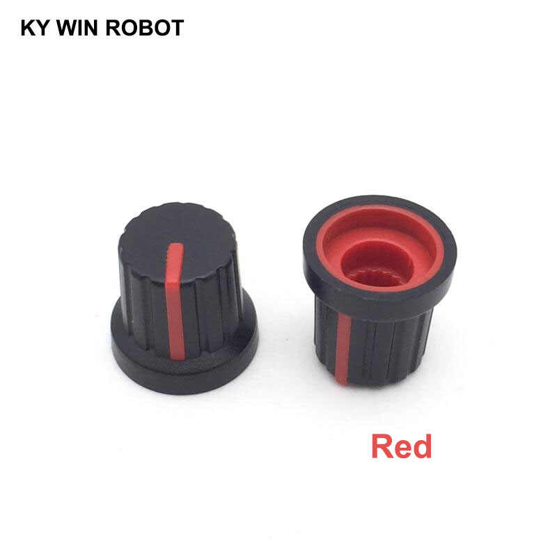10PCS /lot Red Volume Control Rotary Knobs For 6mm Dia Knurled Shaft Potentiometer Durable