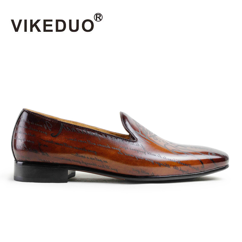 Vikeduo Handmade Designer men's Loafer Shoes Genuine Leather Fashion Luxury Wedding party Dress Leisure Brand male Casual Shoes handmade mens dress shoes italian leather studded flats loafer shoes men casual shoes fashion spiked loafer 35 46