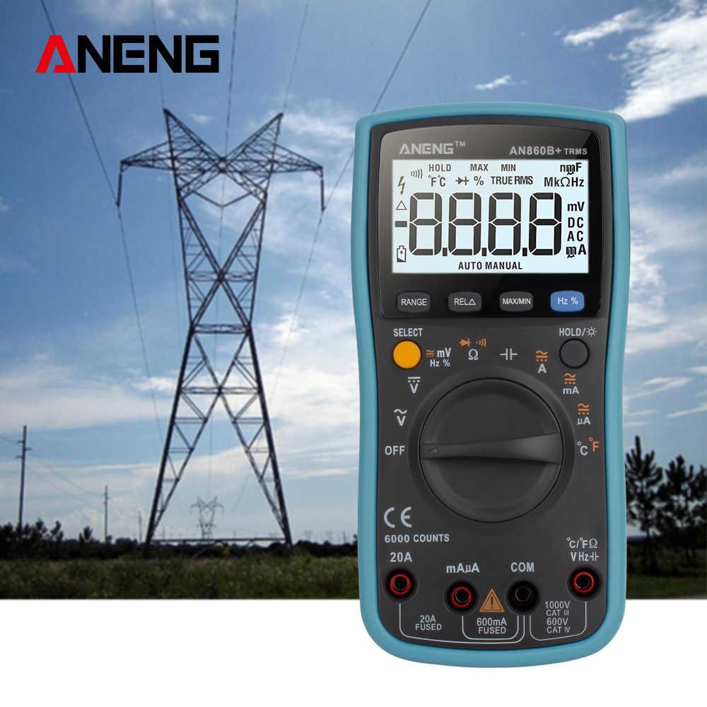 ANENG AN860B + Digital Clamp Meter Multimetro Palmare RMS AC/DC Resistenza