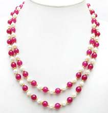 SALE 6-7mm Natural White freshwater Pearl & 8mm Round Rose pink beads 40'' Necklace -nec6054 wholesale/retail Free shipping(China)