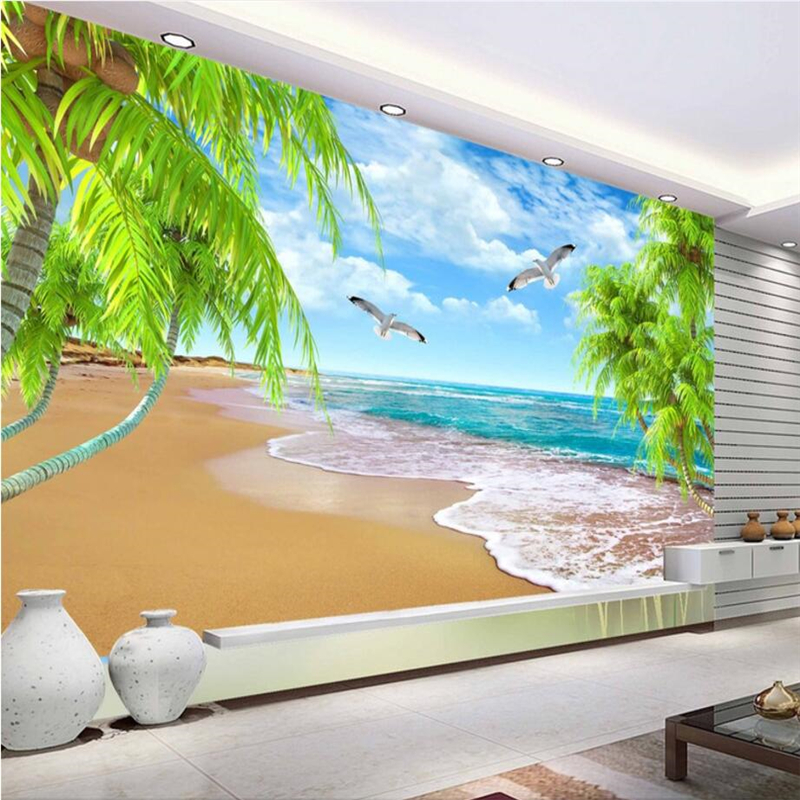 beibehang Custom wallpaper fresh summer coconut tree TV background living room bedroom wall decoration painting