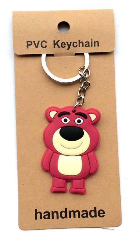 20 cái/lốc PVC Sữa Gấu móc khóa llaveros Para mujer móc khóa Porte Clef móc khóa Vỉ thẻ quà tặng trẻ em
