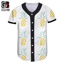 6e804336a9 OGKB 2018 Nova Moda 3D Engraçado Fruit Impresso Completo Amarelo Abacaxi  Fresco Baseball T-shirt Overshirt Casual Unisex Hiphop