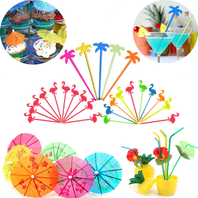 Flamingo Party DIY Cocktail Parasols Paper Umbrella Cake Topper Picks Hawaiian Beach Party Decor Juice Drink Stirrers For Party