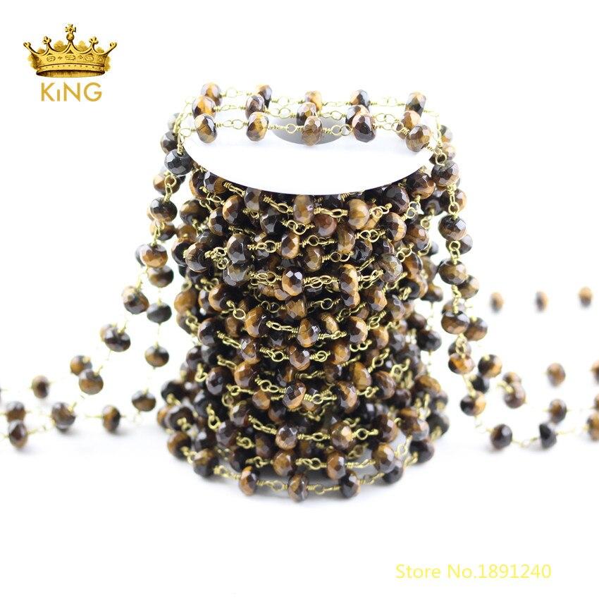 5 mètres à facettes Rondelle œil de tigre perles en vrac résultats de chaînes, pierres naturelles perles coupées fil enroulé chaînes en laiton plaqué ZJ239
