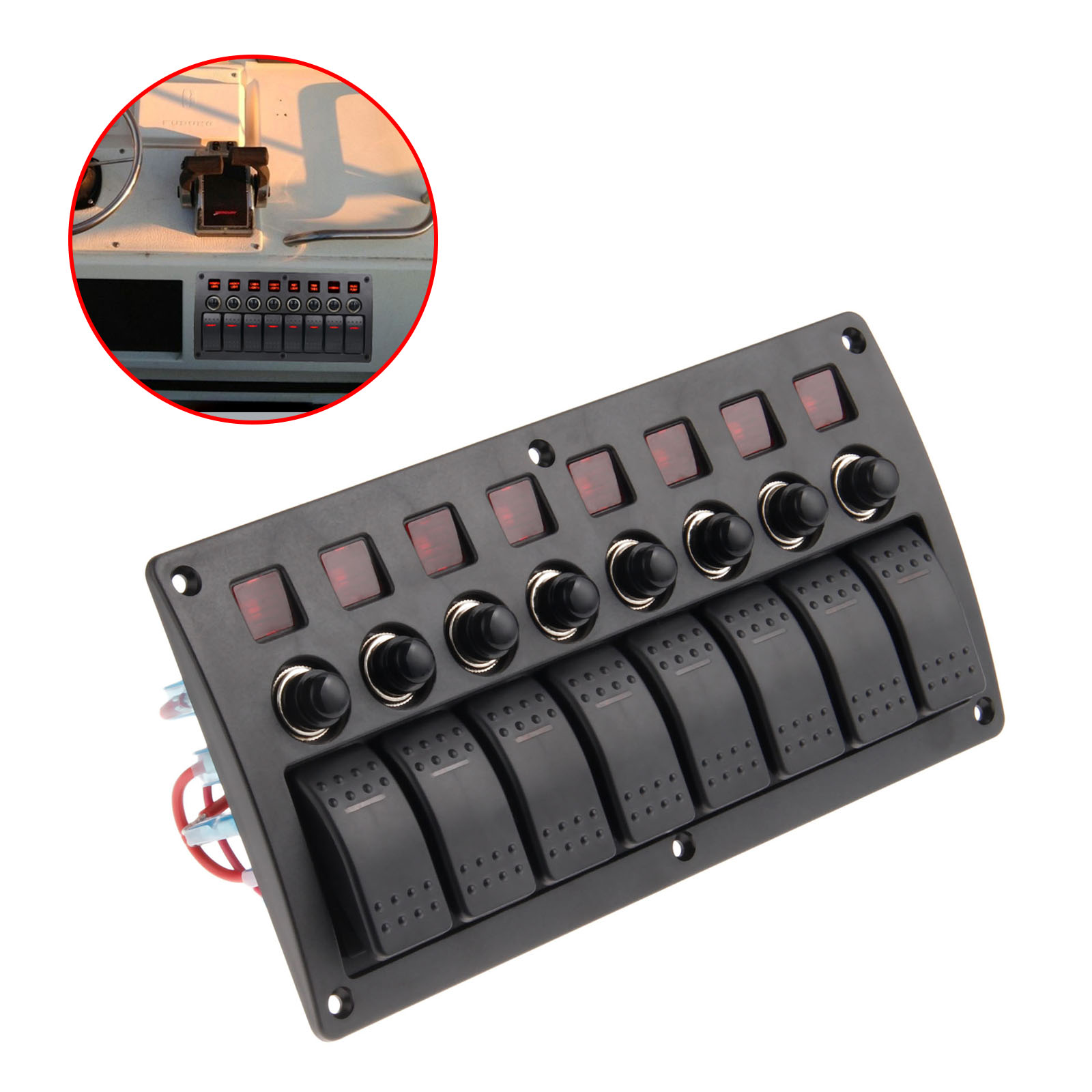 Mgoodoo 3 PIN 8 Gang Rocker Switch Panel Circuit Breakers Red Led 12V 24V Marine Boat Motor Overload Protected Car Switch Panel g126y 2pcs red led light 25 31mm spst 4pin on off boat rocker switch 16a 250v 20a 125v car dashboard home high quality cheaper