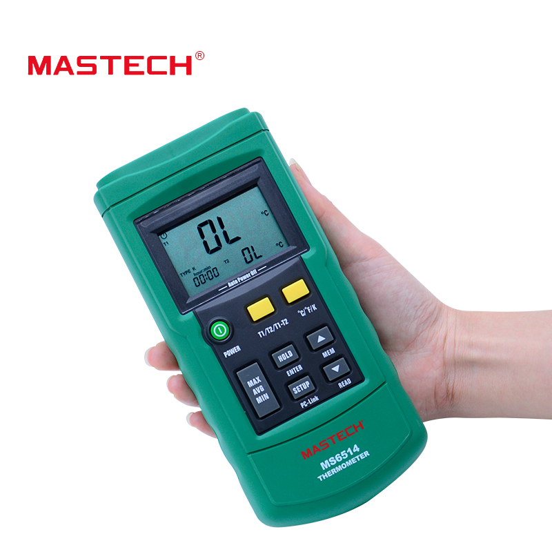 Dual Channel Digital Thermometer MASTECH MS6514 Temperature Logger Tester USB Interface 1000 Set Data K/J/T/E/R/S/N Thermocouple ms6514 dual channel digital thermometer temperature logger tester usb interface 1000 sets data kjtersn thermocouple with box