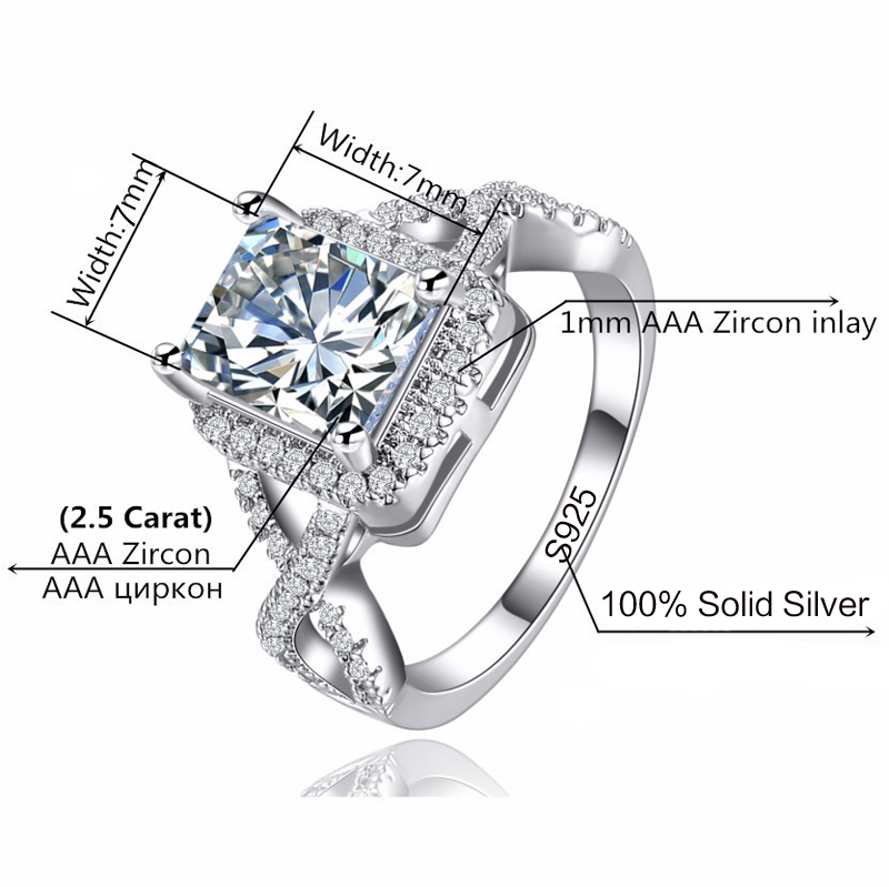 90% OFF!!! LMNZB Luxury 100% 925 Sterling Silver Rings for Women Wedding Engagement Acessories Cubic Zirconia Jewelry LR065