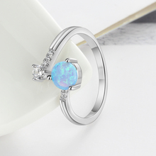 Sterling Silver Created Round Blue Opal Rings for Women