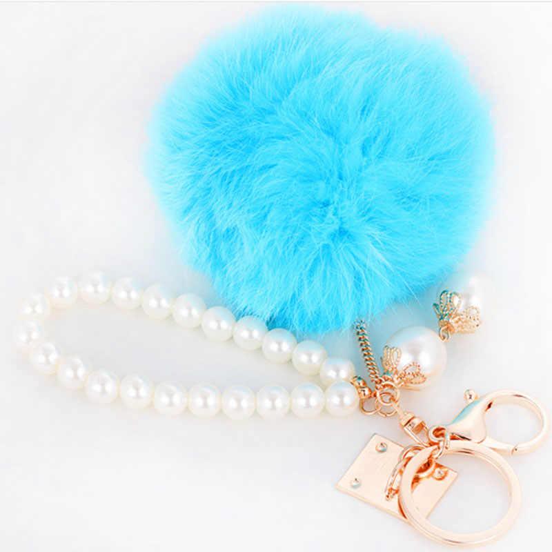 Модный брелок с кроличьим мехом, брелок с помпоном, брелок с мехом, брелок с жемчугом, брелок для сумки, Шарм navidad EH438