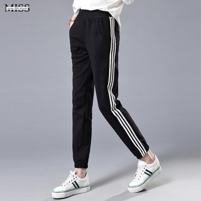 f96e54362 US $11.75 42% OFF|Plus Size Women Elastic Pants Casual Loose Side Stripe  Sweatpants Spring and Autumn 2019 Harem Pant Female Sporty Trousers  Black-in ...